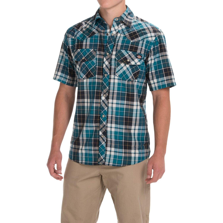 Dickies western plaid shirt for men 3890j save 51 for Dickies short sleeve plaid shirt