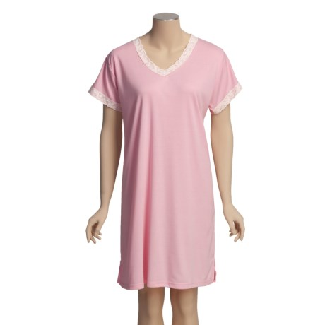 Cool Sets Moisture-Wicking Dee Dee Gown - Lace Trim, Short Sleeve (For Women)
