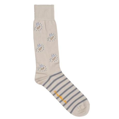 Robert Graham Cotton Paisley-and-Stripe Socks (For Men)