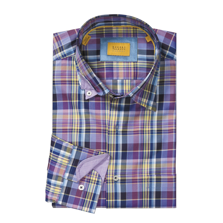 Robert talbott plaid sport shirt hidden button down for Hidden button down collar shirts