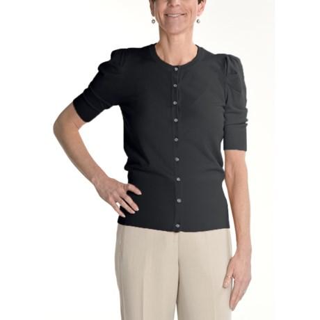 Renuar Fine-Gauge Cardigan Sweater - Short Sleeve (For Women)
