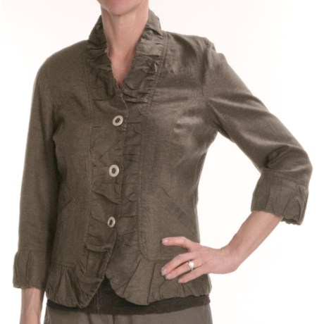 Renuar Washed Linen-Rich Jacket - Three-Snap (For Women)