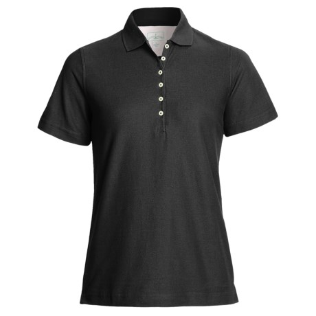 Outer Banks Diamond Knit Polo Shirt - Egyptian Cotton, Short Sleeve (For Women)