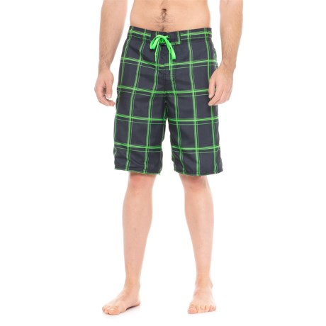 Specially made Drawstring Waist Plaid Boardshorts (For Men)