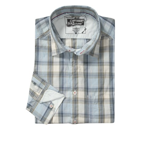 Canterbury Plaid Shirt - Contrasting Cuffs, Long Sleeve (For Men)