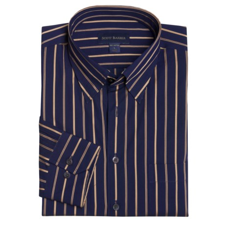 Scott Barber Cotton Stripe Sport Shirt - Long Sleeve (For Men)