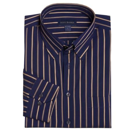 Scott Barber Cotton Stripe Sport Shirt - Long Sleeve (For Men)