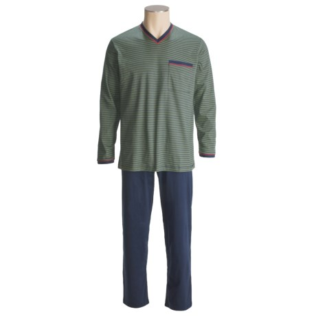 Calida Striped Knit Pajamas - V-Neck, Long Sleeve (For Men)