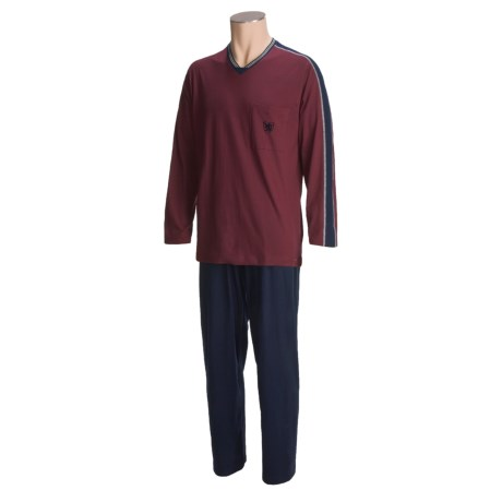 Calida Reset Cotton Knit Pajamas - V-Neck, Long Sleeve (For Men)