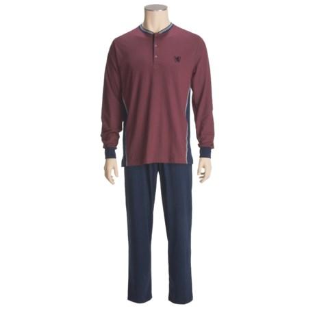 Calida Cotton Henley Pajamas - Long Sleeve (For Men)