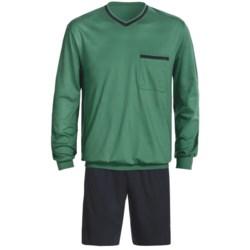 Calida Pure Cotton Interlock Shorts Pajamas - Long Sleeve (For Men)