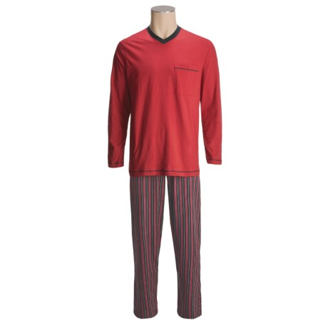 Calida Cotton Knit Pajamas - V-Neck, Long Sleeve (For Men)