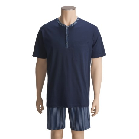 Calida Cotton Interlock Knit Shorts Pajamas - Short Sleeve (For Men)