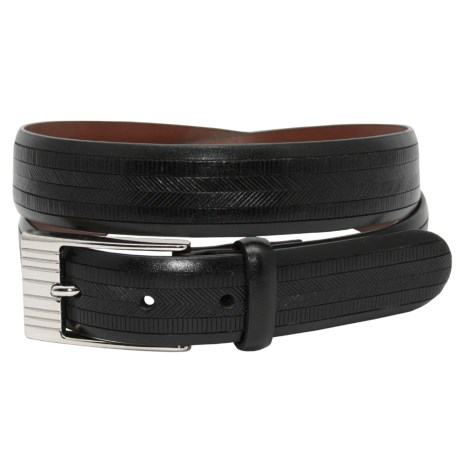 Torino Herringbone Print Belt - Kipskin Leather (For Men)