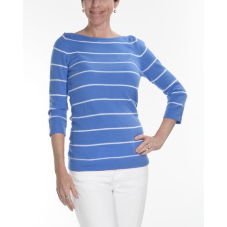 Kinross Striped Cashmere Sweater - Boat Neck, 2-Ply, 10-Gauge, 3/4 Sleeve (For Women)