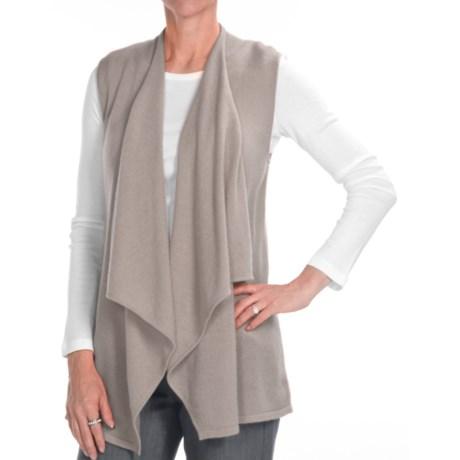 Kinross Cashmere Drape Front Vest - 2-Ply, 7-Gauge (For Women)