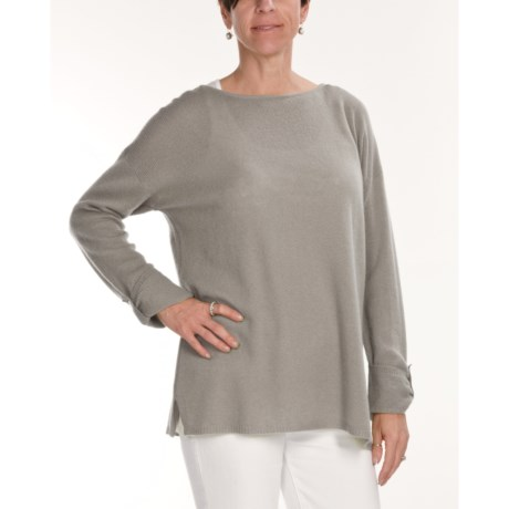 Kinross Cashmere Boat Neck Sweater - Tunic, 3/4 Sleeves (For Women)