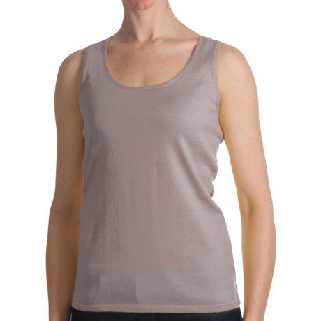 Kinross Cashmere Kinross Cotton Tank Top - 2-Ply, 14-Gauge (For Women)
