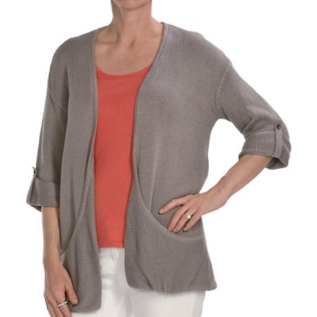 Kinross Cotton Twist Pocket Cardigan Sweater - 3-Ply, 14-Gauge, 3/4 Sleeve (For Women)