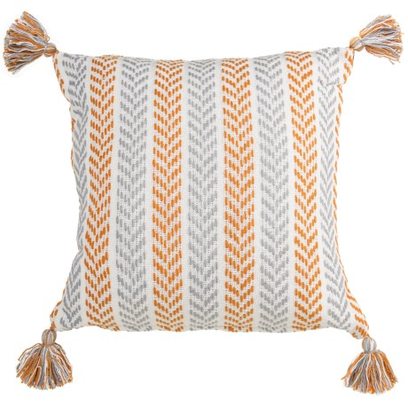 LR Resources Chevron Striped Tasseled Decor Pillow - 18x18""