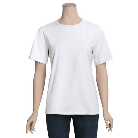 Cotton Jersey Shirt - Round Neck, Short Sleeve (For Women)