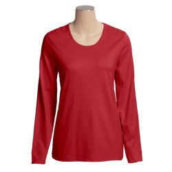 Cotton Scoop Neck T-Shirt - Long Sleeve (For Women)