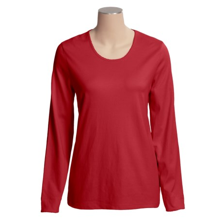 Specially made Cotton Scoop Neck T-Shirt - Long Sleeve (For Women)