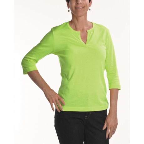 Joan Vass Slit Neck T-Shirt - Knit Cotton, 3/4 Sleeve (For Women)