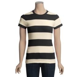 Joan Vass Studio Striped Ribbed Cotton T-Shirt - Crew Neck, Short Sleeve (For Women)