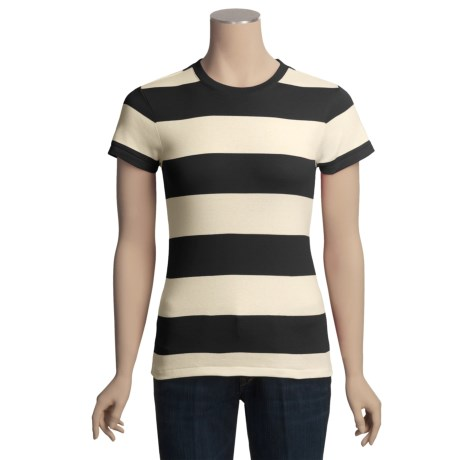 Joan Vass Studio Striped Ribbed Cotton T-Shirt - Crew Neck, Short Sleeve (For Women)