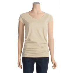 Joan Vass Studio Molly Shirt - Cotton Jersey, V-Neck, Short Sleeve (For Women)
