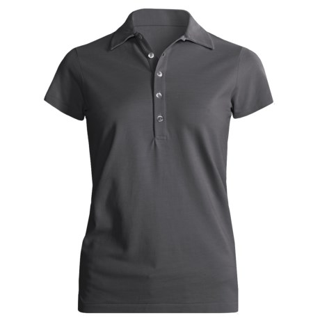 Joan Vass Studio Cotton Pique Polo Shirt - Short Sleeve (For Women)