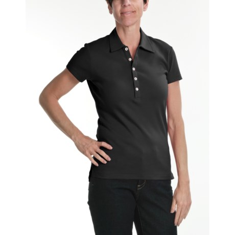 Joan Vass Studio Interlock Cotton Polo Shirt - Short Sleeve (For Women)