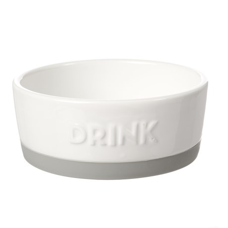 "Winifred & Lily Ceramic ""Drink"" Pet Bowl - Small, Rubber Bottom"
