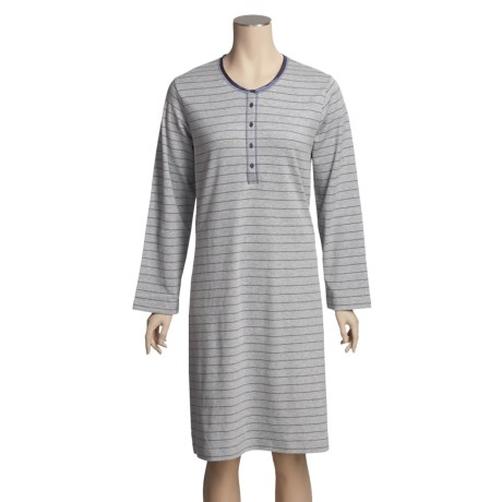 Calida Cocooning Nightshirt - Heavy Interlock Cotton, Long Sleeve (For Women)