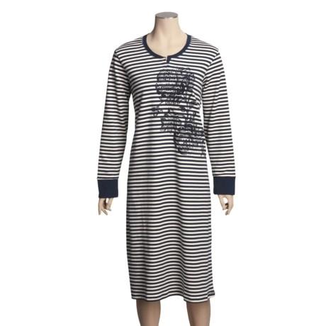 Calida Splendid Nightshirt - Heavy Interlock Cotton, Long Sleeve (For Women)