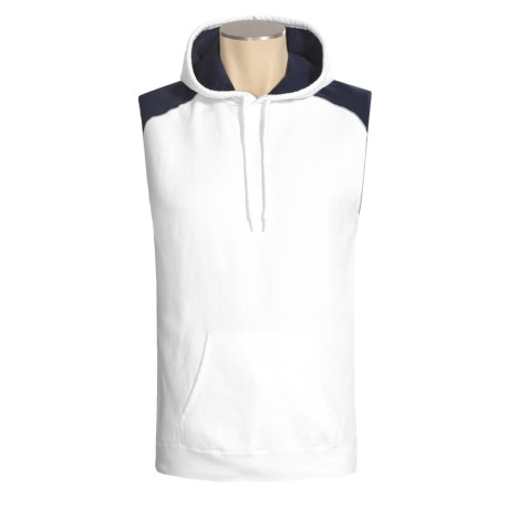Hanes Beefy-T Hoodie Sweatshirt - No Shrink, Fleece, Sleeveless (For Men)