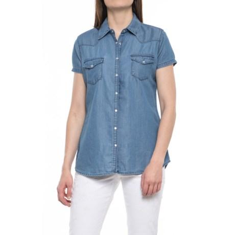 River & Rose Cotton-TENCEL® Tunic Shirt - Snap Front, Short Sleeve (For Women)