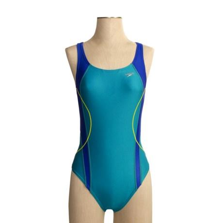 Speedo Optik Splice Swimsuit - Hydro Bra, 1-Piece (For Women)