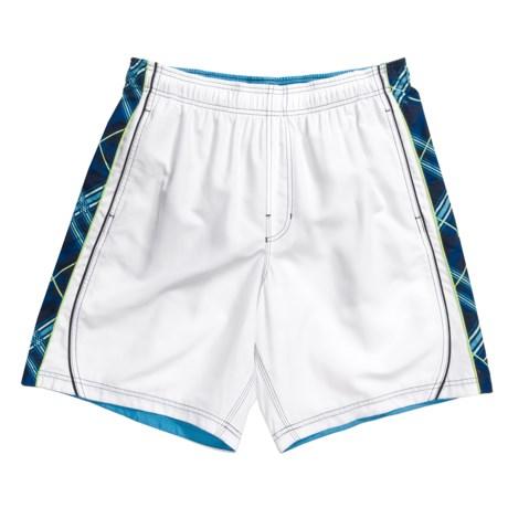 Speedo Diagonal Plaid Splice Volley Swim Shorts (For Men)