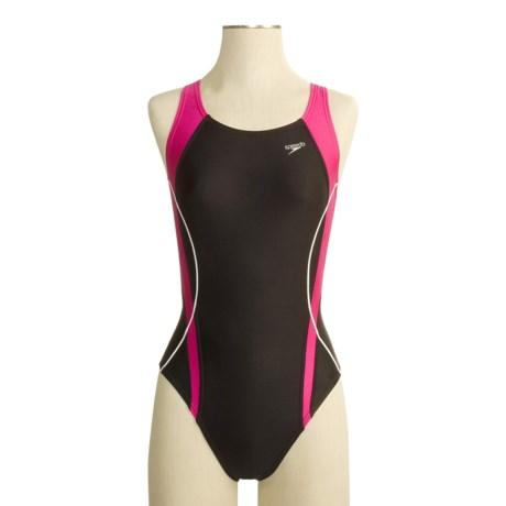 Speedo Optik Spliced Swimsuit - 1-Piece, Fully Lined (For Women)