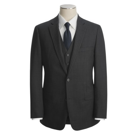 John Varvatos Star USA Tic Weave Stripe Suit - 3-Piece (For Men)