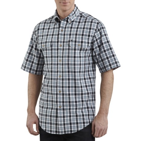 Carhartt Cotton Plaid Chambray Shirt - Short Sleeve (For Men)