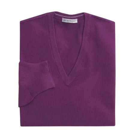 Gran Sasso Merino Wool Pique Sweater - Ultralight, V-Neck (For Men)