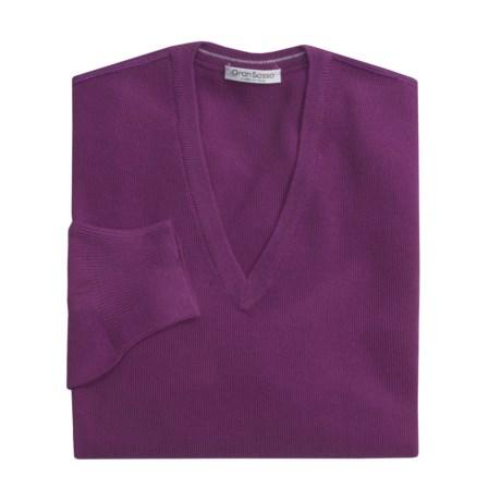 Gran Sasso Merino Wool Pique Sweater - Ultralight, V-Neck (For Men)