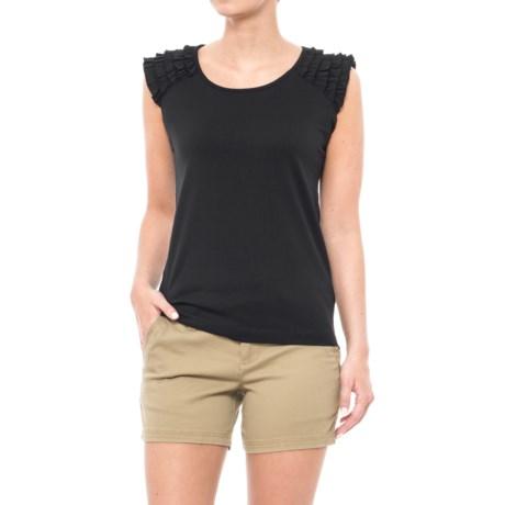 Workshop Republic Clothing Ruffle Trim Scoop Neck Shirt - Sleeveless (For Women)