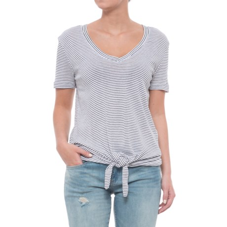 Workshop Republic Clothing Striped Tie Waist Knit Shirt - Short Sleeve (For Women)