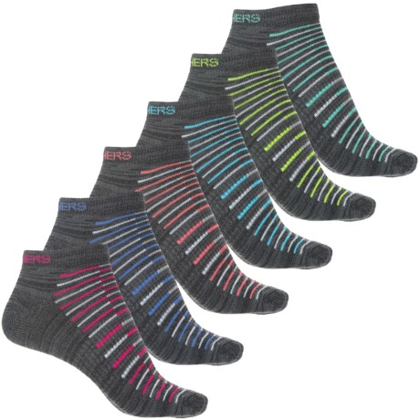 Skechers Active Half Terry Low-Cut Socks - 6-Pack, Below the Ankle (For Women)