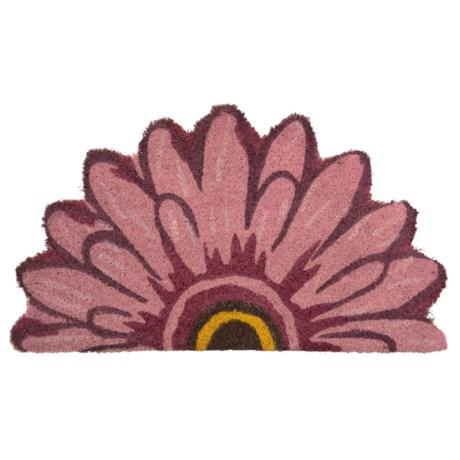 Esschert Design Pink Double-Petal Daisy Half-Moon Doormat - Coconut Fiber