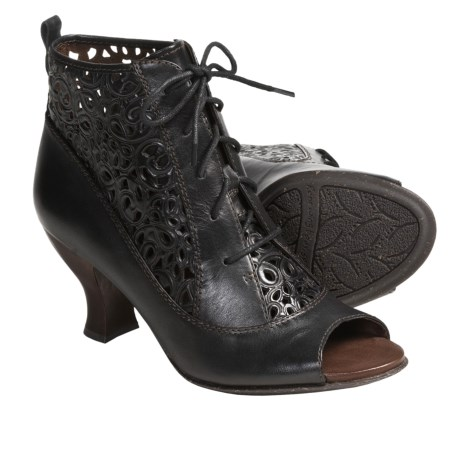 Naya Fennel Perforated Leather Ankle Boots - Peep Toe (For Women)